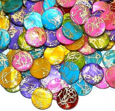 MP771L Assorted Mother of Pearl Gold Drizzle 20mm Round Gemstone Shell Bead 20pc