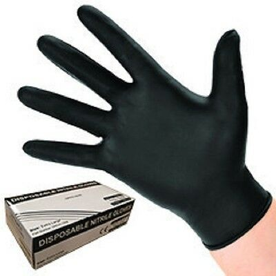 High Quality Black Nitrile Gloves AQL 1.5 Rated Size XL Box of 100