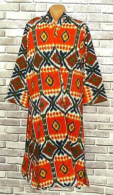 Vintage Traditional Vivid Uzbek Natural Cotton Robe Chapan A8158
