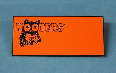 Hooters Restaurant Girls Blank Orange Name Tag (Waitress Pin) Black Owl/back