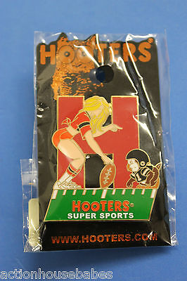 Hooters Restaurant Girl With Hootie H Kickoff Football (Name Drop) Lapel Pin