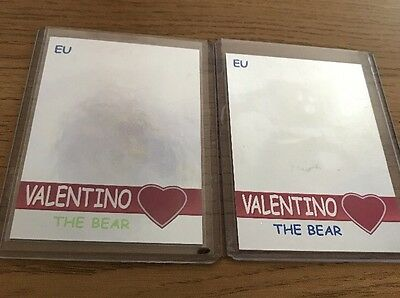 Ty Beanie Babies EU Valentino Holographic X2 Cards Green & Blue