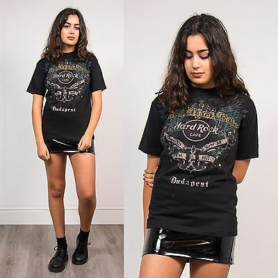 Hard Rock Cafe Budapest T-Shirt Womens Top Grunge Angel Y2K Black Crew Neck 10