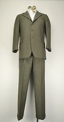 "40"" Short Hector Powe Green Prince of Wales Check 3 Button Suit 1978"