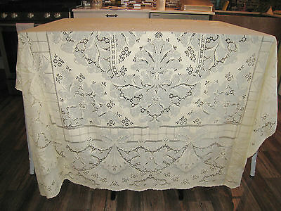 Rare Design Fans Bows Antique Vintage LACE Tablecloth Wedding Banquet Loop