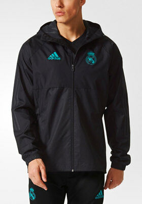 Real Madrid Adidas rain jacket all weather k-way 2017 18 Black