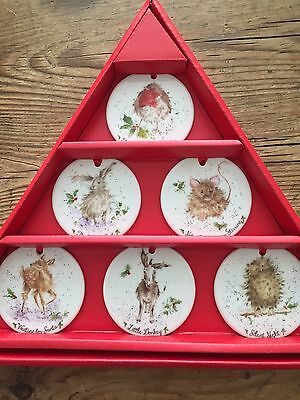 Royal Worcester Wrendale Set of 6 Bone China Christmas Decorations New In Box