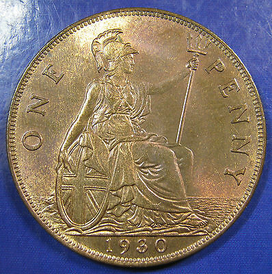 1930 1d George V bronze Penny - UNC and lustrous