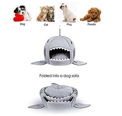 Grey Shark Round House Puppy Bed Sofa for Small Cat Dog Cave Removable Cushion
