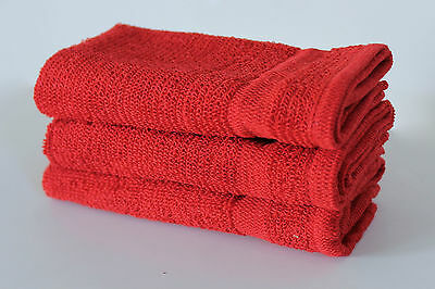 3x face Cloth Flannels Wash Cloths Towels Bath Red Green Cream Yellow Cotton UK