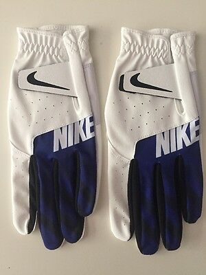 Nike Golf SPORT Glove , 2 Pack Deal White / Blue GG0523 Mens LH Medium