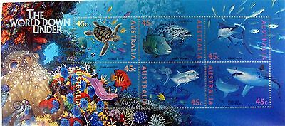 1995 Australia The World Down Under Stamp Sheet Shark Marine Life Sealife Turtle