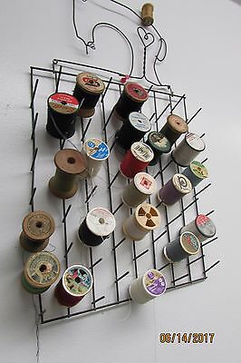 Metal Sewing Thread Rack Bobbin Display Holder, Comes WITH Vintage Spools!!!