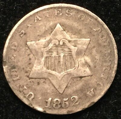 1852 3C Three Cent Silver- VF