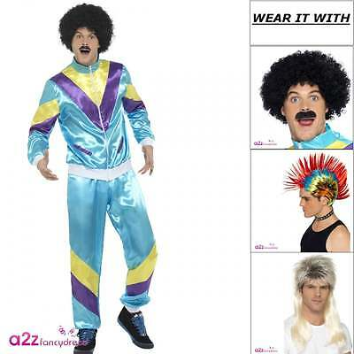 Mens 80s Height Of Fashion Shell Suit 80's Scouser Adult Fancy Dress Costume Wig