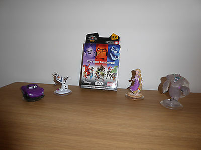 Disney Infinity Toy Box Takeover 3.0 Expansion Pack (PS4) and 4 figures
