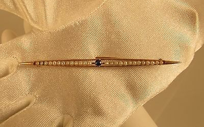 Vintage Pearl and Sapphire  Brooch 10 K Y Gold @ A Village Coin Bullion 4/15/1 b