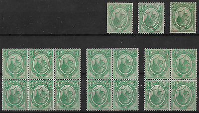 South Africa 1913 KGV SG3 ½d Green Group of Inverted Singles & Blocks Mint