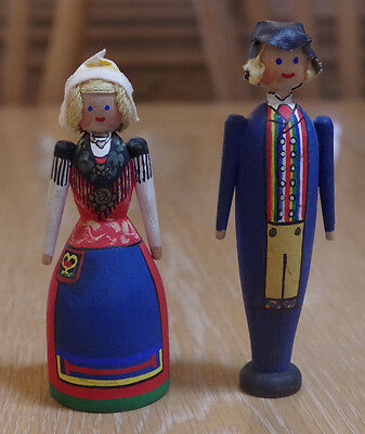 "Vtg 60's Swedish National Costume Pair 5""  Wood Painted Dolls Smaland Sweden"