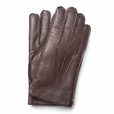 Purdey Brown Cape Skin Leather Town & Country Shearling Lined Gloves RRP £175