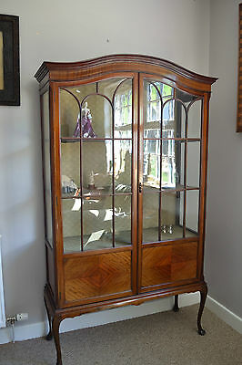 edwardian mahogany glass display cabinet queen ann legs