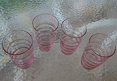 Pink Depression Glass Drinking Glasses 8 oz Optic Set of 4