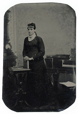 Woman & Square Piano Forte Keyboard Music Instrument Rare Tintype