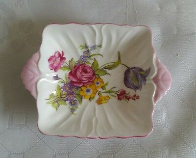 Small shelley trinket dish embossed petal design pink yellow floral