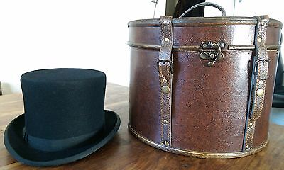 Vintage Austrian Wegener fur felt Top hat with a wood & leather hat box