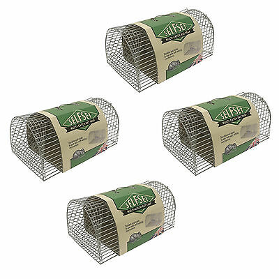 4x STV Self Set Multi Catch Metal Wire Rat Mouse Rodent Vermin Cage No Kill Trap