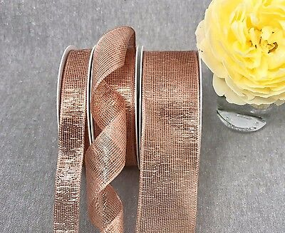 Wired Rose Gold Ribbon Metallic Lame Mesh - 10% off 3 or More  Wedding Christmas