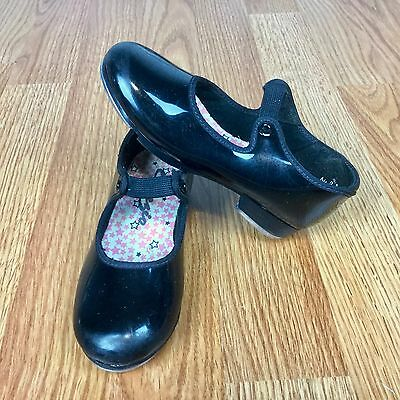 CAPEZIO Little Girls Black Tap Shoes Size 9.5 EUC Patent Elastic Closure