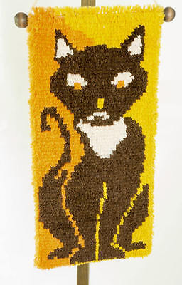 Vtg Latch Hook Rug 1970s Wall Hanging Cat Picture Orange Yellow Brown