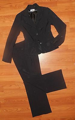 WORTHINGTON Stretch Size 4 Jet Black Shimmer 2pc lined Pant Suit w/Pockets WOW!