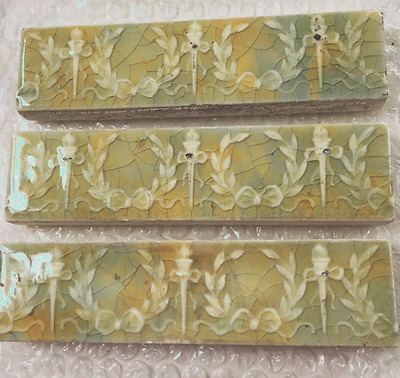 three antique 1880-1890 vestibule subway decorative wreath / torch tiles