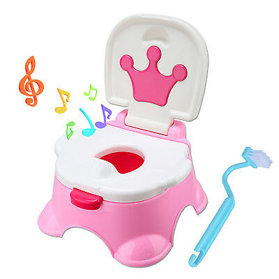 3 in 1 Baby Fun Training Toilet Kids Child Music Pink Potty Trainer Seat Urinal