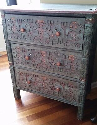 Antique Chest of Drawers Heavily Carved Aztec Mayan Tribal Design VERY UNIQUE