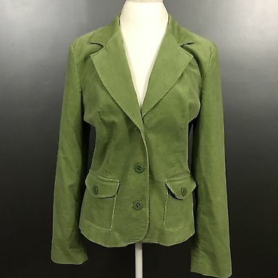 AGB Women's Size 14 Green Cotton Blend Lined Career Jacket Blazer