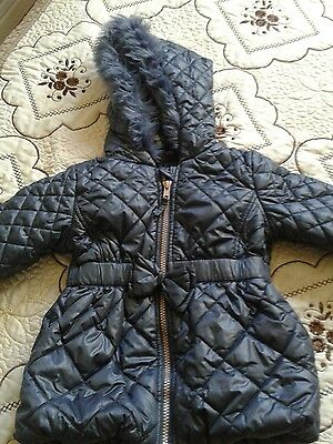 12-18 months girls grey/blue padded jacket from Next