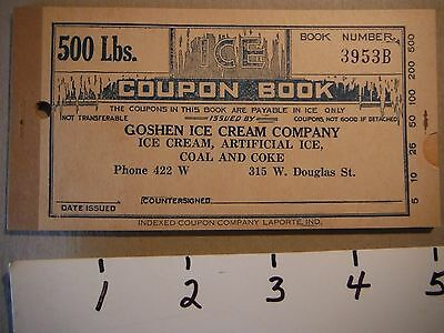 Early Goshen Indiana Ice cream Co. Ice coupon Booklet