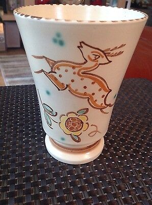 Vintage Retro Honiton Pottery Art Deco Style Vase Signed Excellent Condition