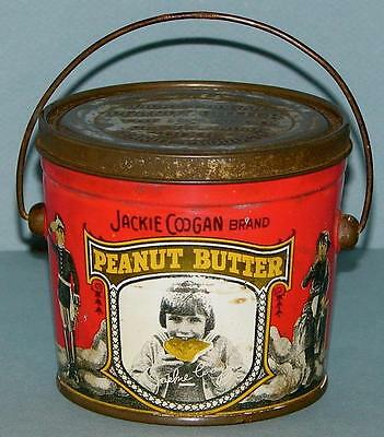 Jackie Coogan Peanut Butter Tin Pail *rare No Hat Version* Graphics All Around