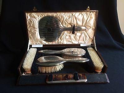 Stunning Antique Art Deco Silver Six Piece Cased Dressing Table Set