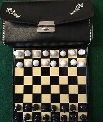 Vintage Travelling Chess Set In Leather-effect Case.magnetic Pieces, Box Board