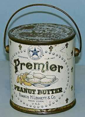 PREMIER PEANUT BUTTER VINTAGE TIN PAIL - FRANCIS LEGGETT & Co, NEW YORK, USA