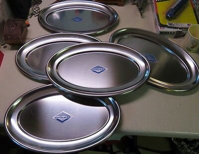 Set of (5) New Vollrath #8064 Stainless Steel Platters 14 1/4 inch