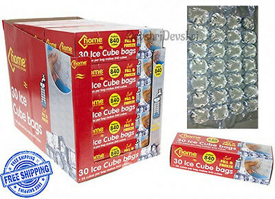 30 Disposable Ice Cube Bags Clear Fridge Freezer Plastic BBQ Party 840 Cubes
