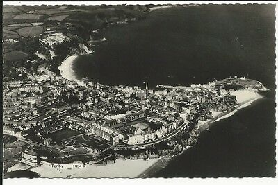 RP postcard of ariel view of Tenby, Pembrokeshire