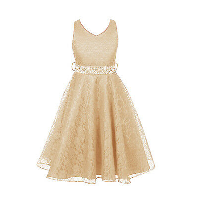 Champagne 9-10Y Girl Princess Dresses Party Pageant Wedding Bridesmaid Gown Lace