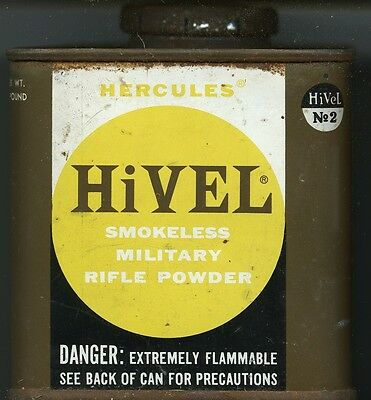 Vintage Hercules Hi Vel 2 early Powder Can (EMPTY)